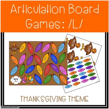 /L/ and /L/-Blends Articulation Board Games - Thanksgiving Theme
