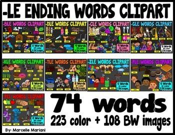 PHONICS CLIPART-CONSONANT and -LE ENDING WORDS CLIP ART BUNDLE
