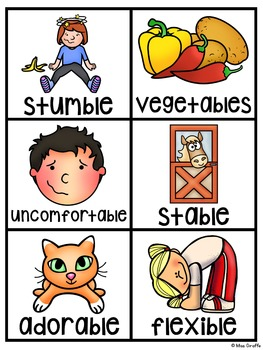 -LE Pocket Chart Centers and Materials (Final Stable Syllable -le)