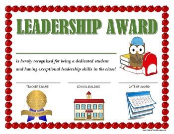 """LEADERSHIP AWARD"" for Primary School Kids!  CLASSROOM CERTIFICATE SERIES!"