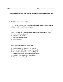 (LEAP/PARCC-like) 3rd Guidebook 2.0 Treasure Island Unit: Part Two Test