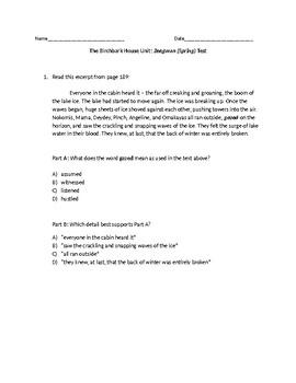 (LEAP/PARCC-like) 5th The Birchbark House: Zeegwun (Spring) Test/Part 4