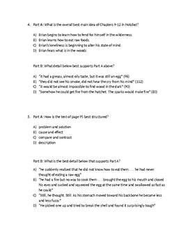 (LEAP/PARCC-like) Grade 6: Guidebook Hatchet Unit: Chapters 9-12 Test