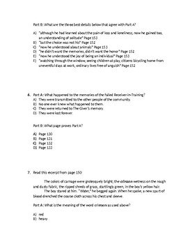 (LEAP/PARCC-like) Grade 7: Guidebook The Giver Unit: Chapters 13 - 16 Test