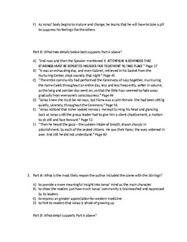 (LEAP/PARCC-like) Grade 7: Guidebook The Giver Unit: Chapters 5 - 8 Test