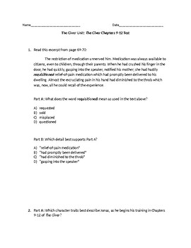 (LEAP/PARCC-like) Grade 7: Guidebook The Giver Unit: Chapters 9 - 12 Test