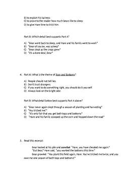 (LEAP/PARCC-like) Guidebook Trickster Tales Unit: Tops & Bottoms Test