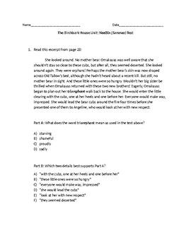 (LEAP/PARCC-like) 5th The Birchbark House: Neebin (Summer) Test/Part 1