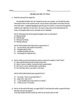 (LEAP/PARCC-like) 5th Guidebook Wonderstruck Part Three Test