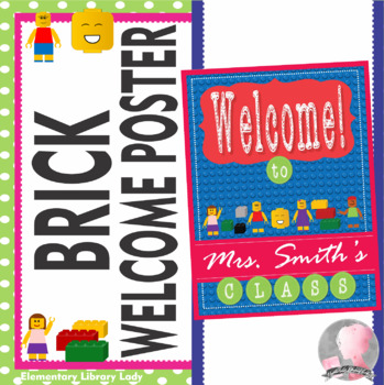 """LEGO like"" - Brick - EDITABLE Welcome Poster - 18 x 24"