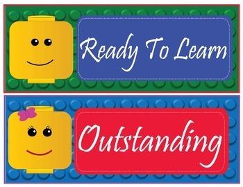 """LEGO like"" - Brick Theme Behavior Clip Chart - EDITABLE"