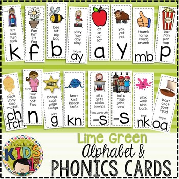 {LIME GREEN} Alphabet & Phonics Cards