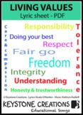 'LIVING VALUES' ~ Lyrics PDF: Children READ & LEARN  about