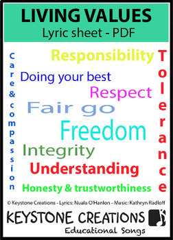 'LIVING VALUES' ~ Lyrics PDF: Children READ & LEARN  about 9 core values