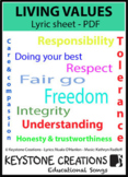 'LIVING VALUES' ~ Lyrics, Outcomes & Lesson Activities