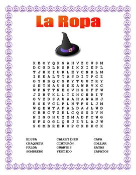 "La Ropa-Label the Clothes in Spanish-""La Brujita Feliz""- Halloween Themed"