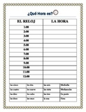 "-La Hora - Time Practice in Spanish & ""Mi Dia""  Writing Prompt"