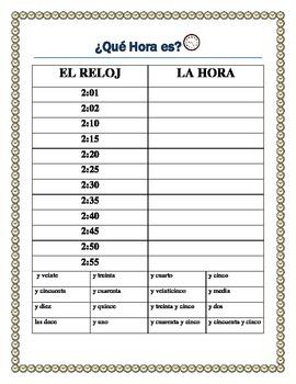 "-La Hora - Time Practice in Spanish & ""Mi Dia""  Writing Prompt"