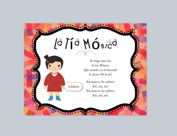 """La Tia Monica"" MP3 Song and Vocabulary Parts of Body Spanish Partes Cuerpo"