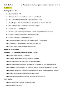 """FREE """"La Travesía de Enrique"""" reading comprehension questions - entire book"""
