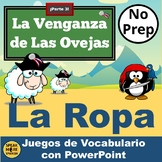 ¡La Venganza de las Ovejas!  Spanish Vocabulary PowerPoint Games for LA ROPA