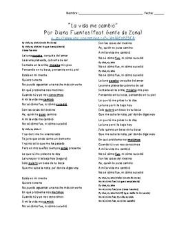 """""""La vida me cambió"""" by Diana Fuentes feat. Gente de Zona (Preterite tense)"""