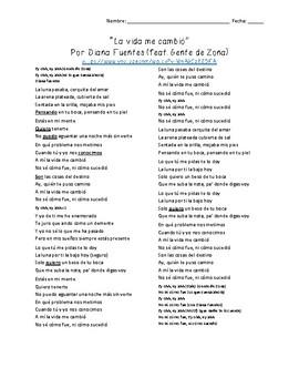 """""""La vida me cambió"""" by Diana Fuentes feat. Gente de Zona (Present tense)"""
