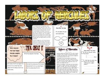 """""""Labors of Hercules"""" Close Read & Text-Evidence Activity"""