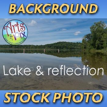 "! ""Lake with reflection"" - Photograph - Lake Landscape Background - Stock Photo"