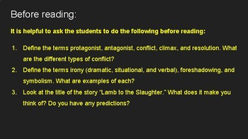 """""""Lamb to the Slaughter"""" by Roald Dahl Literary Devices and Summary Writing"""