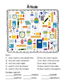 À L'école Unit / French School Supplies Unit