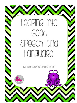 """Leaping into Good Speech and Language"" Frog Themed Speech Therapy"