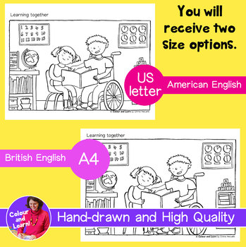 """""""Learning Together - Reading"""" Coloring Sheet/Colouring Page (Elementary/Primary)"""