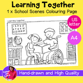 """""""Learning Together - Reading"""" Coloring Sheet/Colouring Pag"""