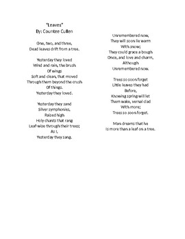 """""""Leaves"""" by Countee Cullen -- STAAR Poetry Questions"""