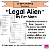 """Legal Alien"" by Pat Mora Poem Analysis Worksheet (Latina Poet)"
