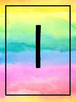 {Les Chiffres arc-en-ciel} Rainbow watercolour number posters
