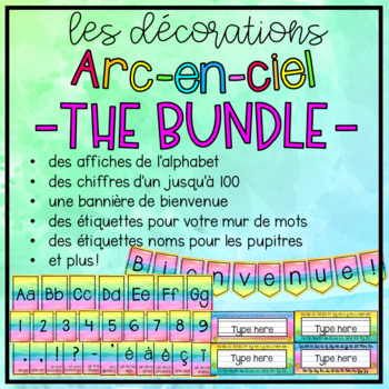 {Les Décorations arc-en-ciel} Printable French classroom visuals