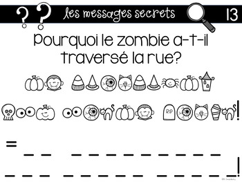 {Les Messages Secrets: L'Halloween!} 16 coded Halloween messages in French