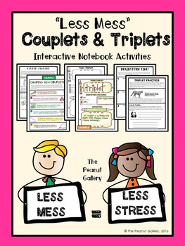 """""""Less Mess"""" Couplets & Triplets Interactive Notebook Activities"""