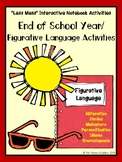 """""""Less Mess"""" End of Year/Summer Figurative Language Interactive Notebook Activity"""