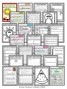 """Less Mess"" End of Year/Summer Figurative Language Interactive Notebook Activity"