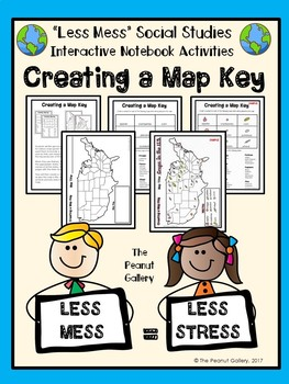 """Less Mess"" Interactive Notebook Activities: Creating a Map Key"