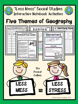 """Less Mess"" Interactive Notebook Activities: Five Themes of Geography"
