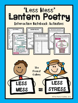"""Less Mess"" Lantern Poetry Interactive Notebook Activities"