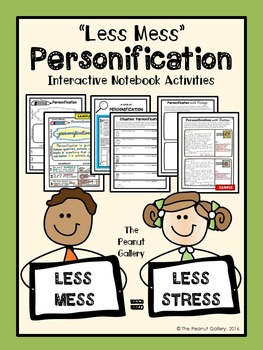 """Less Mess"" Personification Interactive Notebook Activities"
