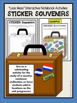 """Less Mess"" Social Studies Interactive Notebook Activities: Sticker Souvenirs"