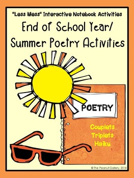 """Less Mess"" Summer/End of Year Poetry: Interactive Notebook Activities"