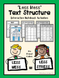 """""""Less Mess"""" Text Structure Interactive Notebook Activities"""