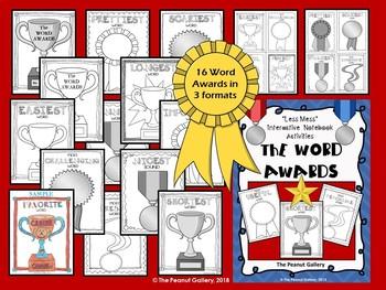 """Less Mess"" Word Awards Interactive Notebook Activities"